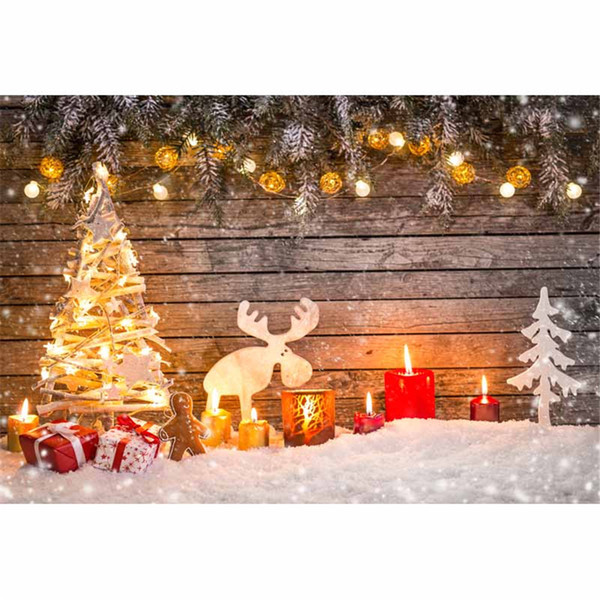 Vintage Wooden Wall Sparkling Bulbs Photography Background Christmas Tree Red Candles Elk Gifts Snow Winter Kids Photo Studio Backdrop