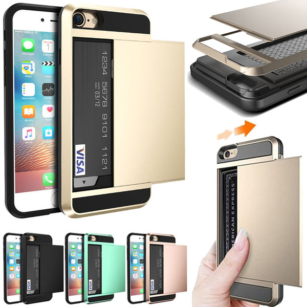 Híbrido armadura tpu pc wallet case cartão de slides case para iphone xs max xr x 8 7 6 samsung s6 s7 s8 edge s9 s9 mais nota 9 s10e j4 j6 j8 2018