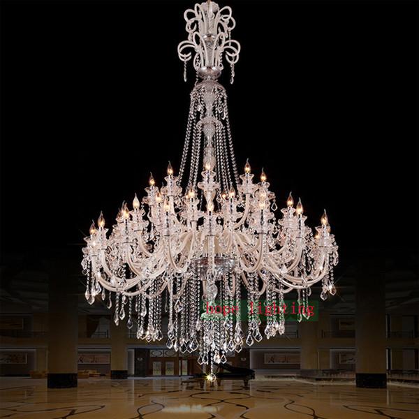 large crystal chandeliers for hotels modern chandelier high ceiling Villa club level chandelier led Elegant Lighting staircase Chandelier