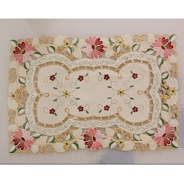 Wholesale- yazi 4PCS Embroidered Daisy Flower Lace Rectangle Doily Mat Fabric Table Placemats Wedding Banquet Decor 4PCS