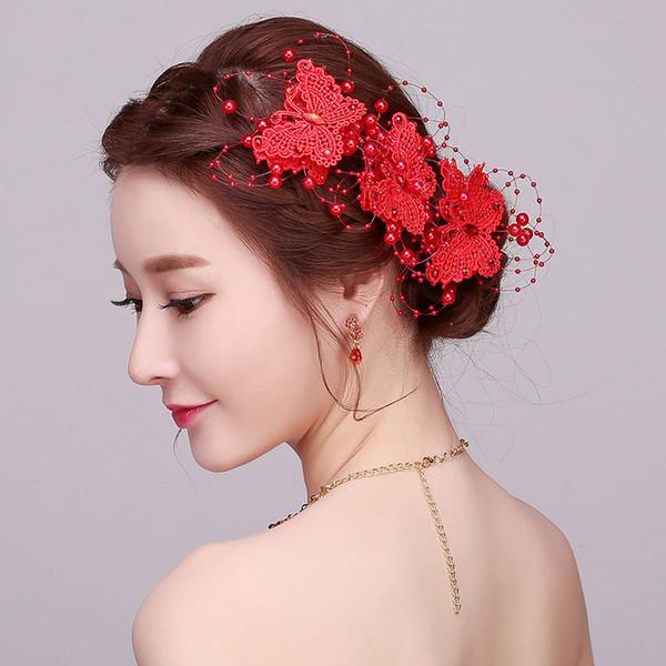 Koreanische handgemachte Schmetterling Braut Haarspangen Schmuck für Frauen und Mädchen roten Strass Hochzeit Hiar Zubehör