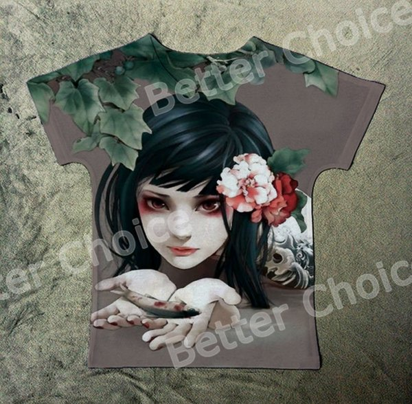 Track Ship+New Hot Fresh Vintage Retro T-shirt Top Tee Black Hair Tattoo Girl Hold Fish in Pool Flower 1395