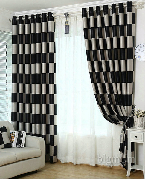 best selling European Brief Pattern Plaid Blackout Sheer Window Curtain For living Room Kitchen  Hotel Window Treatment Drapes