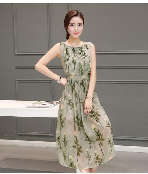 Ladies Dresses Fashion Party dress Chiffon sleeveless Fresh green Pleated Dresses Elegant shoulders flowers Women Long Dresses