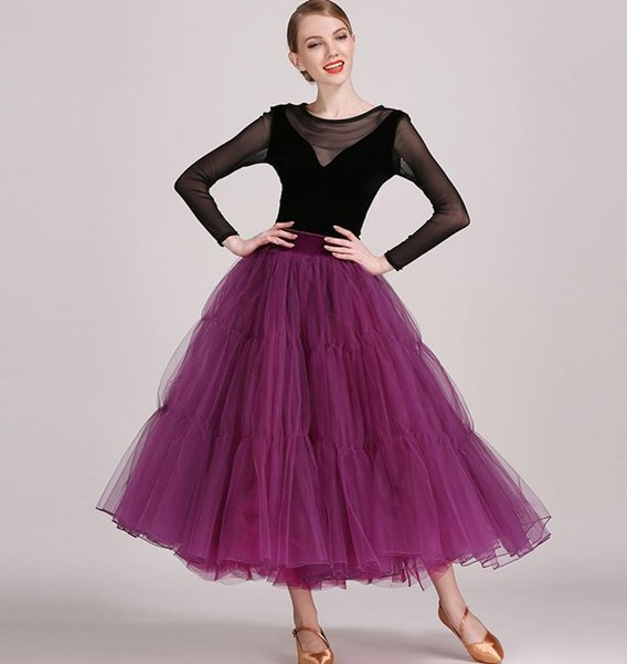 Women Dance Dress Standard Ballroom Competition Dresses Costumes For Women T-shirt + Skirt Set Tango/Waltz Dress 2017 Modern Dancewear FN183