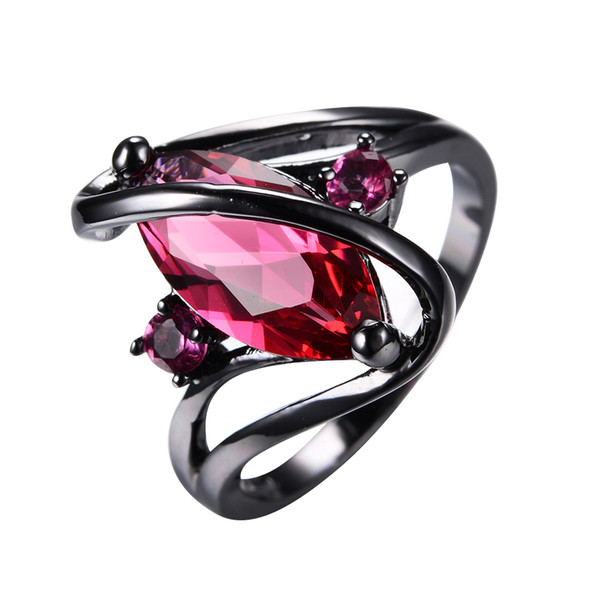 JUNXIN Big S Geometric Style Black Gold Ring Female Rose Red Ring Vintage Wedding Engagement Rings For Women Fashion Jewelry