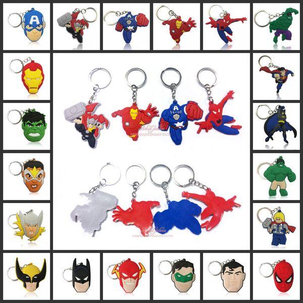 best selling Marvel Super Hero Avengers Hulk Super Man Cartoon Anime Action Figure Keychain Key Ring PVC Kid Key Chain Pendant Key Holder Toy Gifts