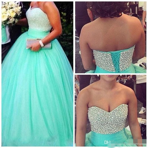 Real Image Mint Green Ball Gown Crystal Quinceanera Dresses Sweet 16 Dress Sweetheart Vestido De Festa Long Tulle Formal Prom Gowns