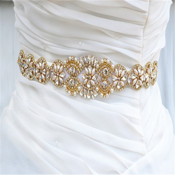 Handmade Gold Rhinestones Appliques Wedding Belt Clear Crystal Sewing on Bridal Sashes Wedding Dresses Sashes Bridal Accessories T23