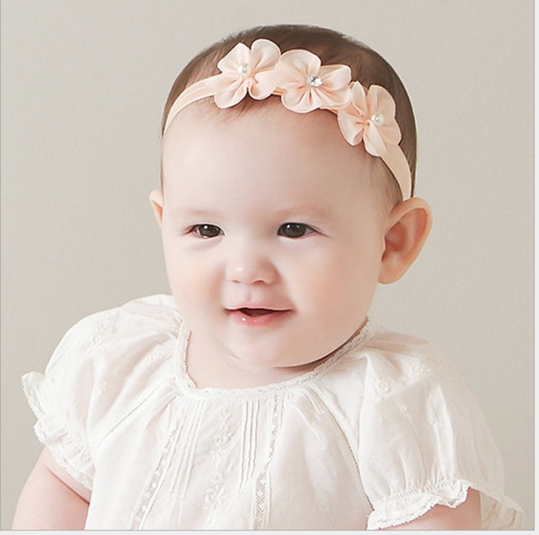 2017 New Baby Floral Pearl Hair Bands Infant Photography Props Newborns Lace Net Yarn Hair Accessories Baby Headbands Kids Headwear 2 Colors