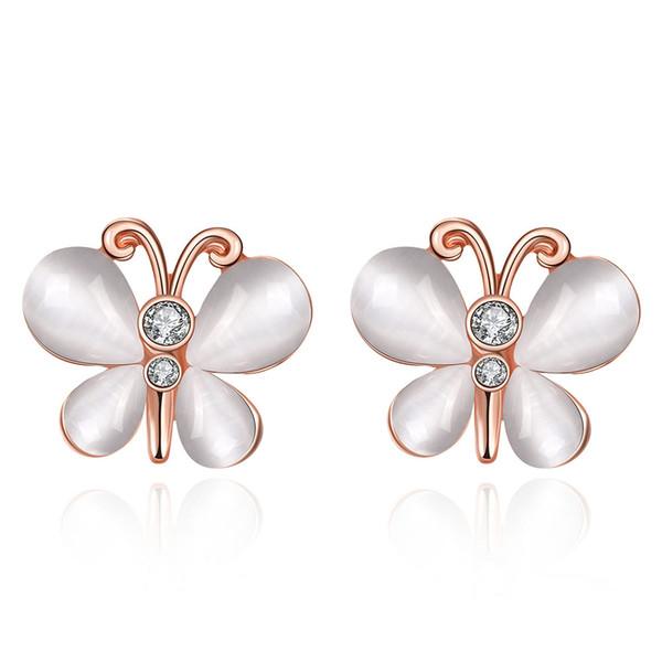 Butterfly Czech Drill Stud Earrings , 18K Gold Plated Earrings Jewelry Women's Fashion Stud Rose Gold Earrings Free Shipping e076