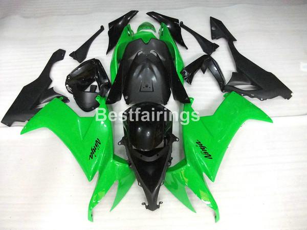 Топ-продажи мотоцикл обтекатель комплект для Kawasaki Ninja ZX10R 08 09 зеленый черный обтекатели набор ZX10R 2008 2009 TU16