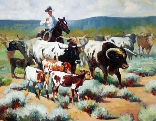 2019 Framed Wild Western Cowboy Driving Cows Pure Handpainted Portrait Art Oil Painting Quality Canvas Wall Decor Multi Sizes P0046 From Soamazing