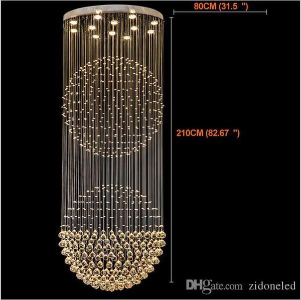 Führte Kristalllüstertreppen Geführte Hängende Beleuchtungskörper LED  Innenpendellampe Moderner Leuchter Hohe Decken Hängende Lampen