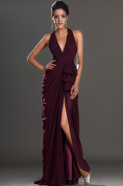 Deep V-neck Open Back High Split Mermaid Evening Dress Sexy Side Slit Purple Chiffon Prom Gowns 2018 New Arrival
