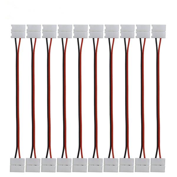 10mm 8mm 2 Pin Einfarbiger 5050 LED-Streifenverbinder Freies Löten Verbindungsdraht mit LED-Leiterplattenverbinder