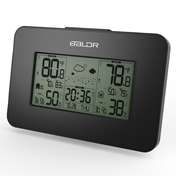Black Baldr Weather Station Clock Indoor Outdoor Temperature Humidity Display Wireless Weather Forecast Alarm Snooze Blue Backlight