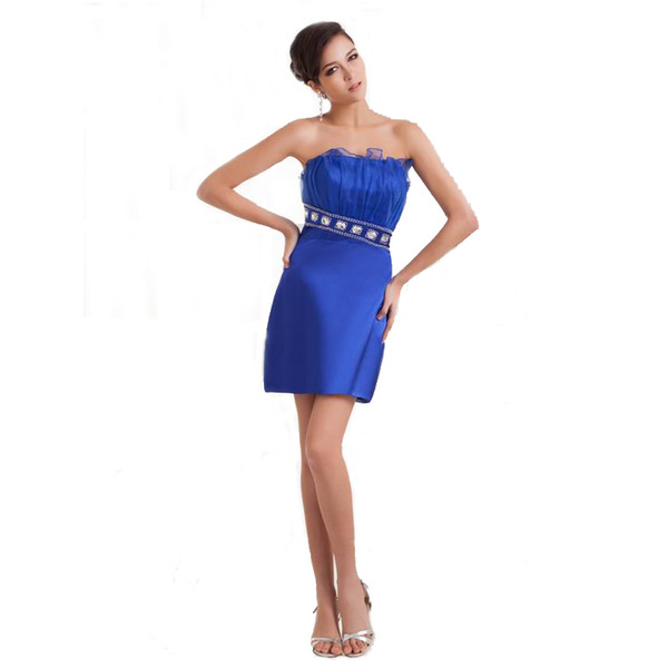 Modern Style Sexy Hips Blue Dress Ladies Party Above Knee Length Off Shoulder Beaded Short Dress Fashion