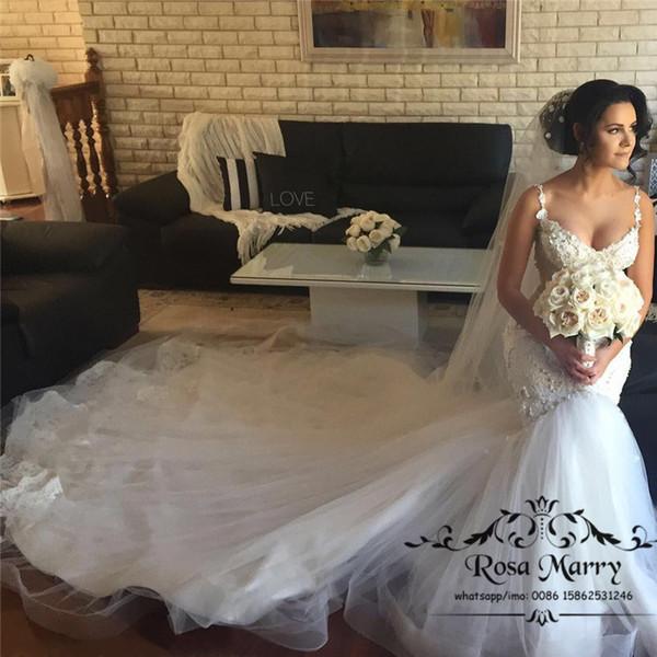 Venta al por mayor Vestidos de boda de la sirena del cordón de la ...