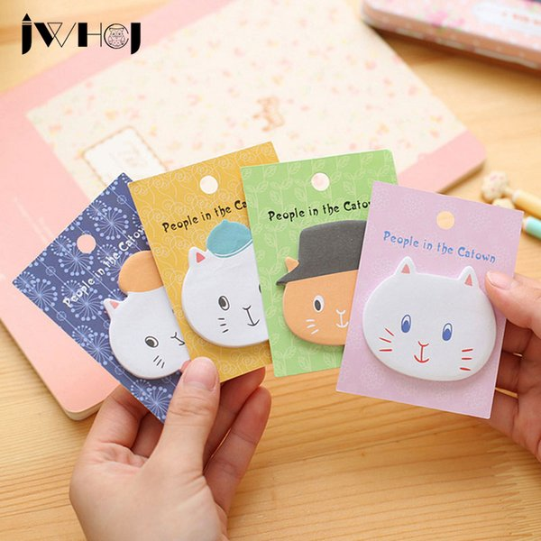 "top popular Wholesale- 4 pcs lot JWHCJ ""people in the catown"" cat memo pad paper sticky notes notepad stationery papeleria school supplies 2020"