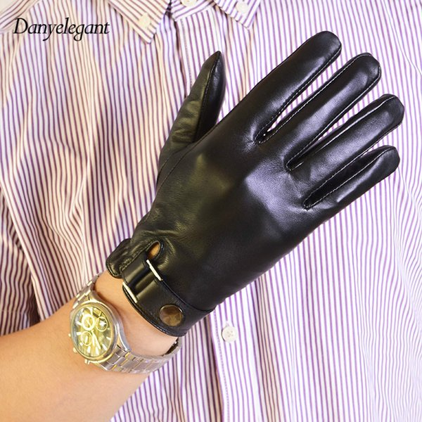 Wholesale- 2017 New Male Leather Gloves Autumn and Winter Thickening Thermal Genuine Leather Gloves Ride Sheepskin Touch Screen Gloves