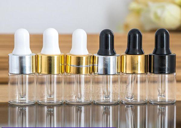 Claro Cuentagotas 1ml 2ml 3ml 100pcs Mini Botella de vidrio Aceite esencial Pantalla Vial Pequeño Suero Perfume Marrón Contenedor de muestra