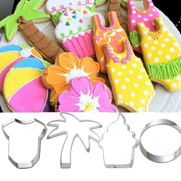 4pcs beach coconut tree cake clothings cookie cutter metal baking tins biscuit mould bread sandwich cupcake topper