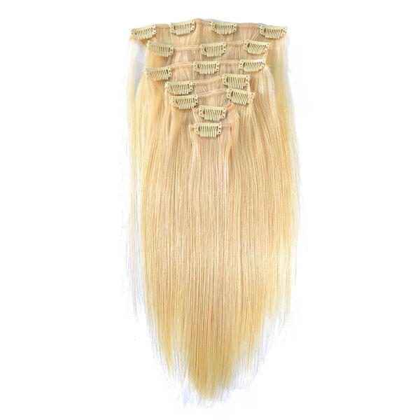 Vollen Kopf Set Clip ins 100g Clip In Menschliches Haar Extensions 613 Blonde Menschliches Haar Clips In Platinum Blonde Brasilianische Clip In Haar