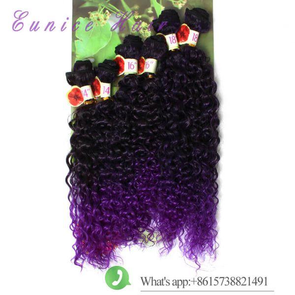 Kinky lockiges ombre purpurrot