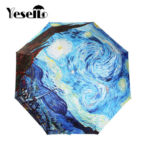 Yesello Vincent van Gogh Oil Painting Starry Night Three Folding Umbrella 8 Rib Wind Resistant Frame For Women