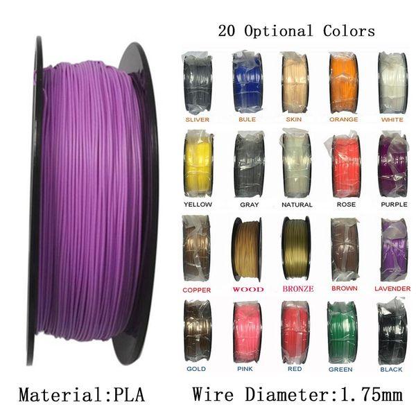 1 KG / Rolle / 2,2 LBS Multicolor PLA 1,75mm Filament 3D Drucker Filament Kunststoff Gummi Verbrauchsmaterialien Material 3D Drucker Filament