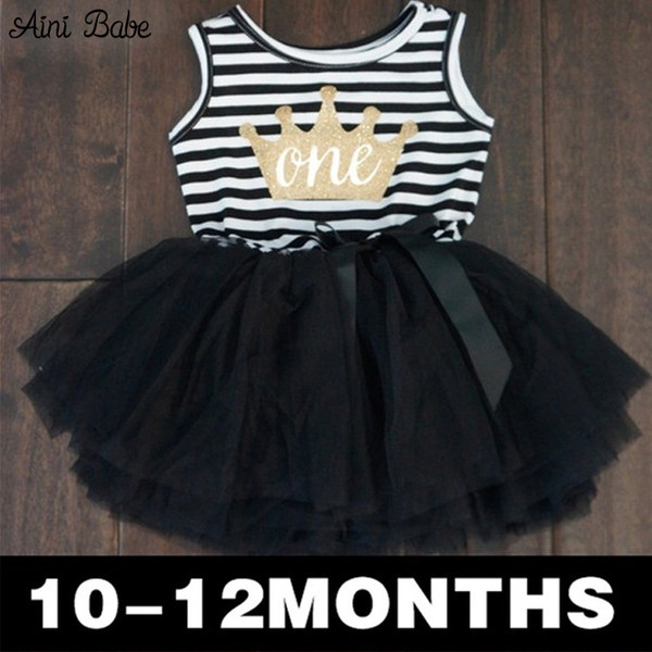 Wholesale- Baby Kid Girl One Piece Dress Striped Bow Summer 2016 Tutu Dress Cute Vest Girls Clothes Little Princess Dress For Infant 0-2Y