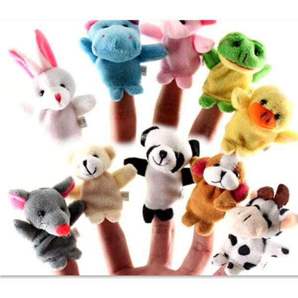 best selling 10styles Cute Animal Finger Puppets toys Short Floss Baby Hand Puppet toy Kids baby early education Finger Toy Storytelling props
