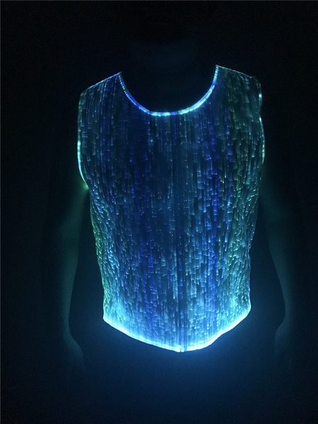 best selling luminous t-shirt great effect casual tank  fiber optic clothing mens clubwear sleeveless RGB LED lighting clothing