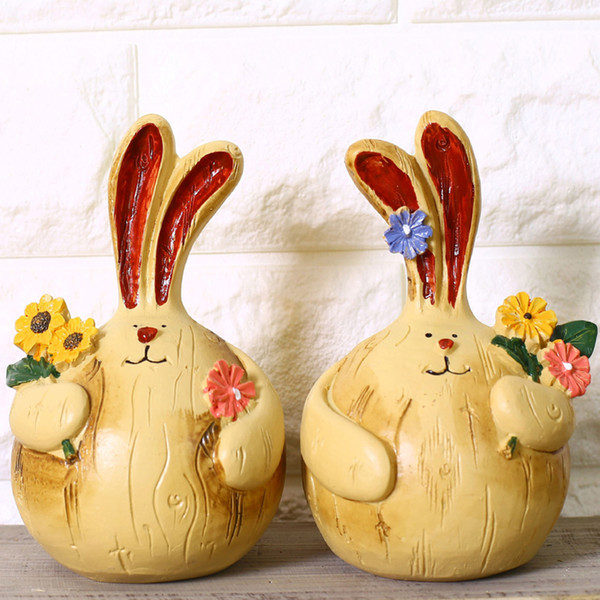 2 Pcs/Pair Zakka Resin Fat Rabbit Couple Figurine Long Ears Garlic Rabbit Ornament Animal Sculpture Home Decor Wedding Ornament