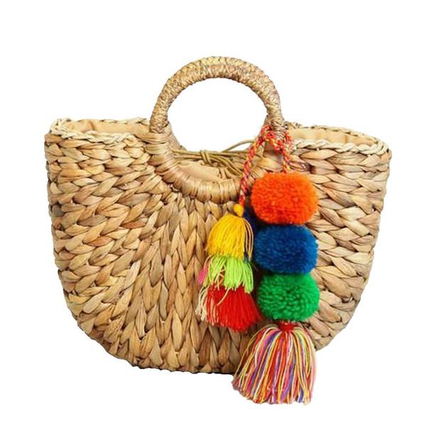 Fashion Tassels Women Bag Straw Bag Simple Design Female Shoulder Bags Rattan Beach Bag Handmake Girls Summer Bolsas Femininas C80