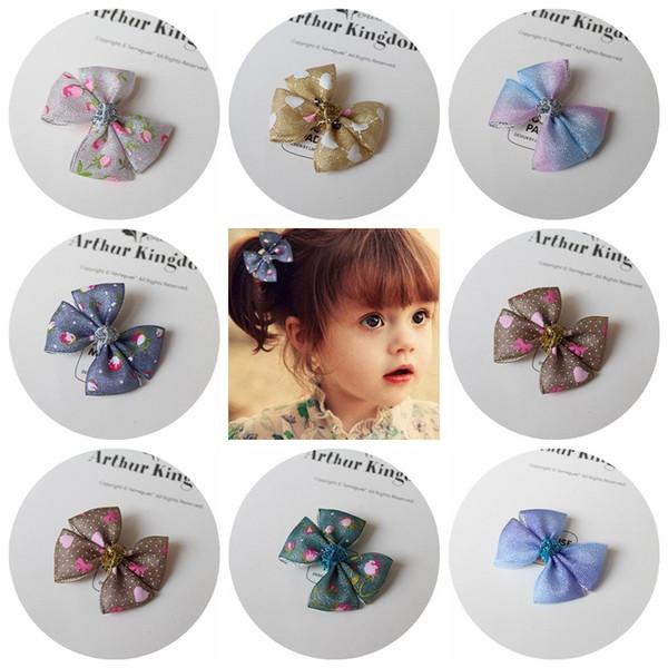 Wholesale 40pcs/lot 9C Fashion Glitter Gauze Hair Bow Baby Girls Hair Clips