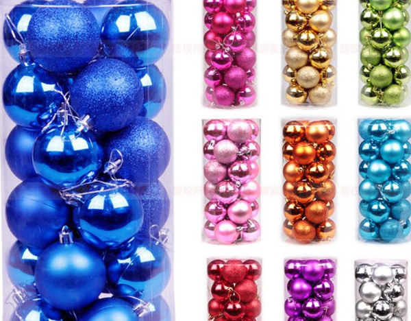 Christmas Balls Xmas Tree Decoration Supplies Light Ball 8cm 24 Pcs Christmas ball Christmas tree decoration Pendant Hanging Drops with Rope