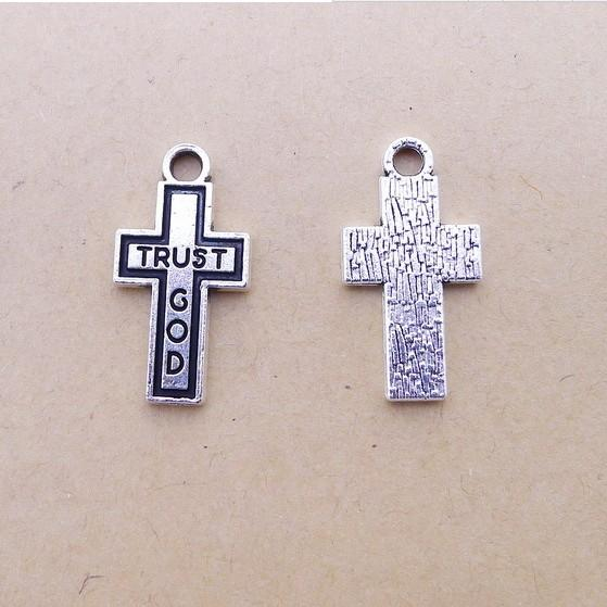 A7363 ancient silver 50 / package alloy cross parts, DIY jewelry accessories wholesale, factory direct sales 1.6 grams