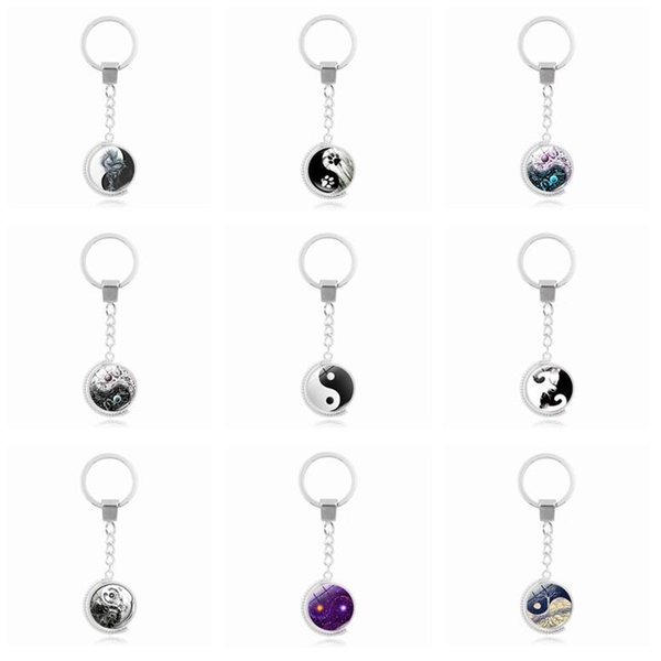 Good A++ Hot tai chi series double-sided rotating time gemstone key ring pendant alloy key ring KR225 Keychains mix order 20 pieces a lot