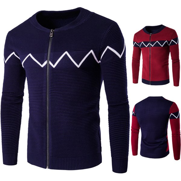 New Winter Christmas Sweater Men Fashion Plaid O-neck Thick Navy Red Black Zipper Cardigan Mens Sweater coat