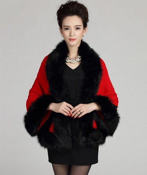 New Winter Womens Capes and Ponchos Fashion Fake Fox Fur Collar Cashmere Sweater Women Knitted Cardigan Poncho