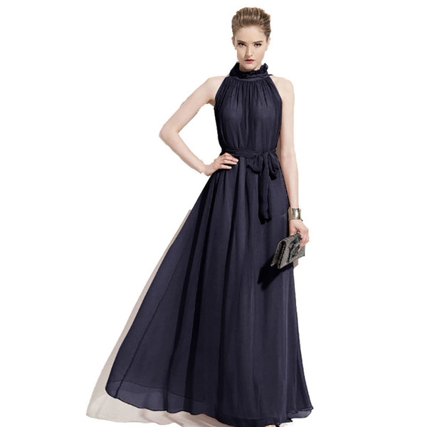 2017 new plus size halter evening event women maxi dress summer chiffon sleeveless wedding dresses for women free shipping