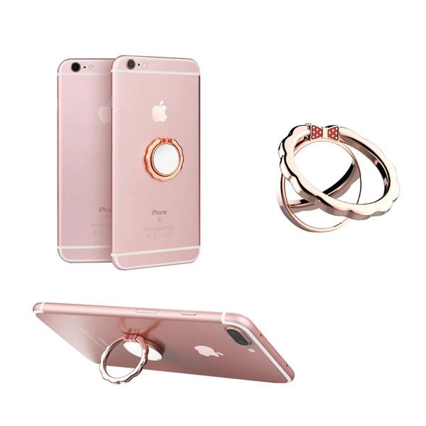 Support d'anneau de téléphone portable universel avec miroir de placage et anneau de papillon en métal Grip Fitting Fit pour support de voiture magnétique avec emballage de vente au détail