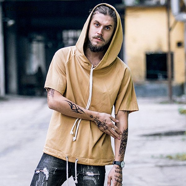Men Short Sleeve Hoodies Sweatshirts Solid Color Thin Hoodie Tee Hooded Pullover Fashion Hip hop Youth Tops Clothing