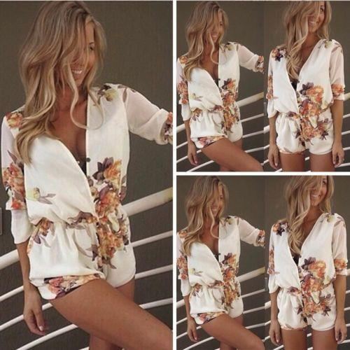New Fashion Women Ladies Clubwear Deep V-Neck Playsuit Bodycon Party Jumpsuit Romper Trousers Womens Clothing Apparel Floral Print Shorts