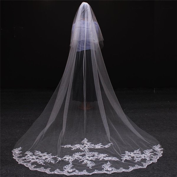 White/Ivory Applique Tulle 3 Meters Long Bridal Head Veils With Comb Wedding Veil Accessories Lace Bridal Veil veu de noiva