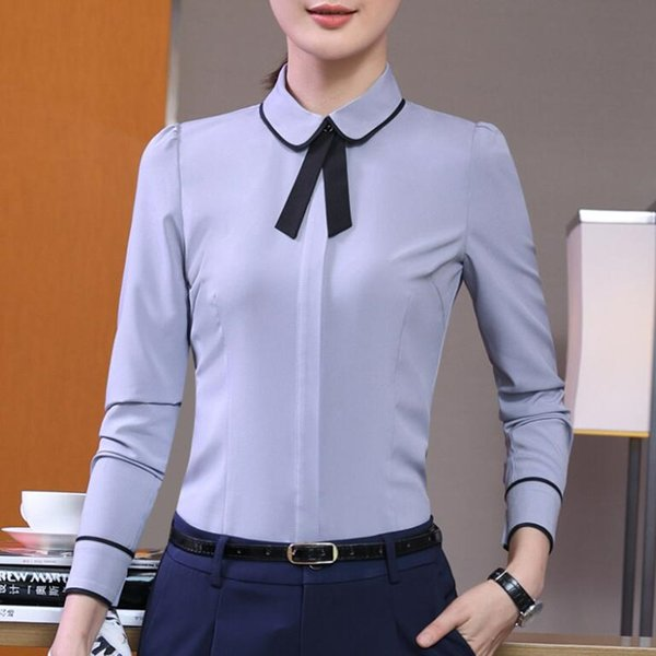 2017 New elegant bow tie women shirt white gray formal slim long sleeve chiffon blouses office ladies plus size work wear tops