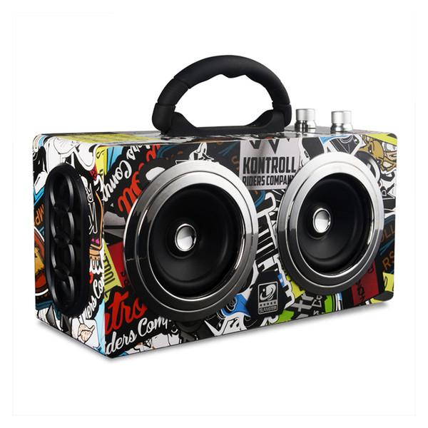Großhandels-Bluetooth Lautsprecher 20W Holz High Power Stereo Super Bass Subwoofer Outdoor Bluetooth Lautsprecher tanzen Lautsprecher mit FM Radio