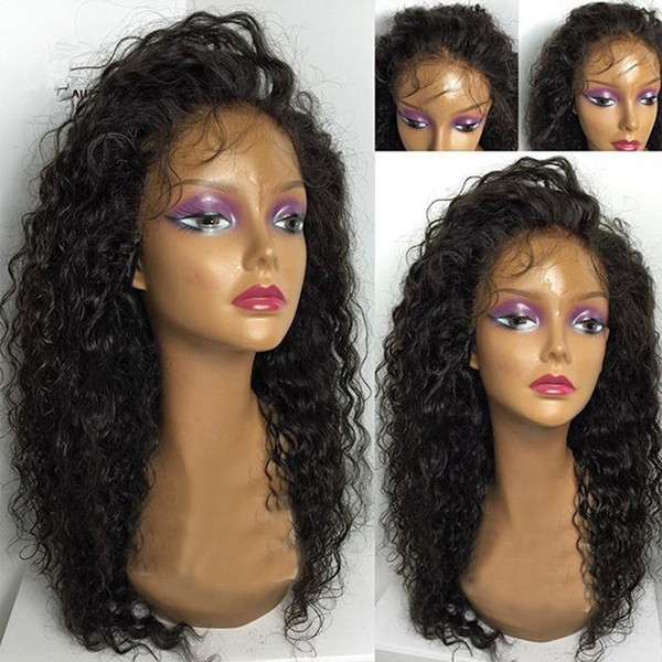 Malaysian Wet and Wavy Glueless Full Lace Human Hair Wigs Water Wave Lace Front Wigs With Baby Hair 130% Density Bleached Knots